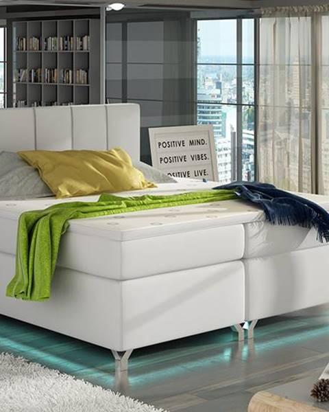 NABBI Barino 140 čalúnená manželská posteľ s úložným priestorom biela