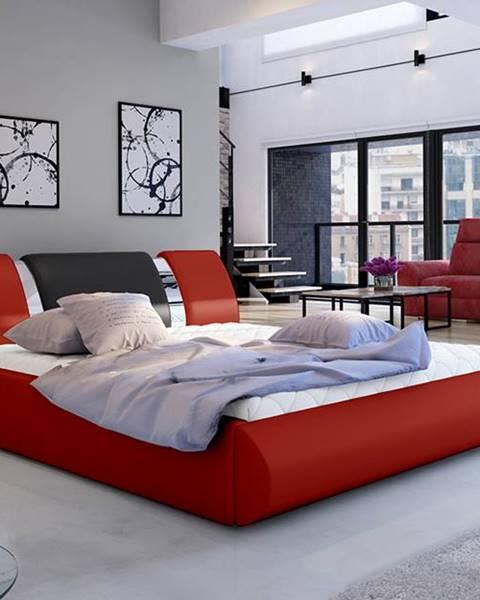 NABBI Folino 180 čalúnená manželská posteľ s roštom červená