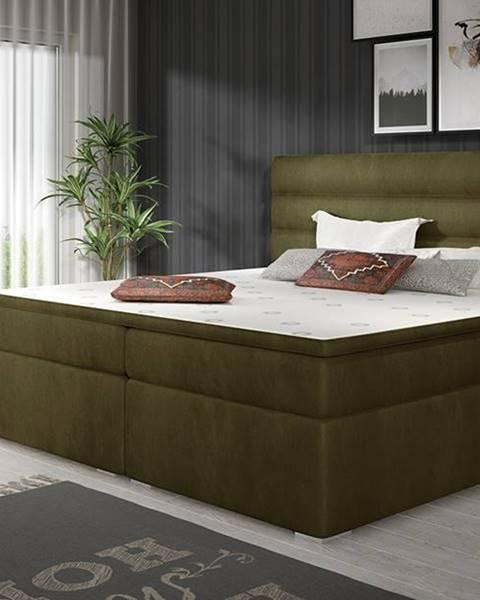 NABBI Spezia 180 čalúnená manželská posteľ s úložným priestorom khaki