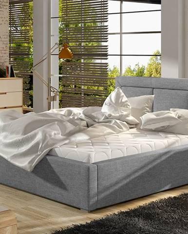 Branco UP 140 čalúnená manželská posteľ s roštom svetlosivá (Sawana 21)