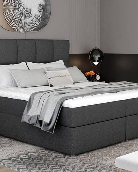 NABBI Grosio 145 čalúnená manželská posteľ s úložným priestorom tmavosivá