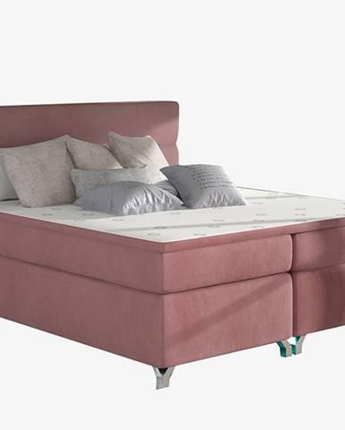 Avellino 180 čalúnená manželská posteľ s úložným priestorom ružová