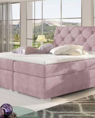 Beneto 140 čalúnená manželská posteľ s úložným priestorom ružová (Omega 91)