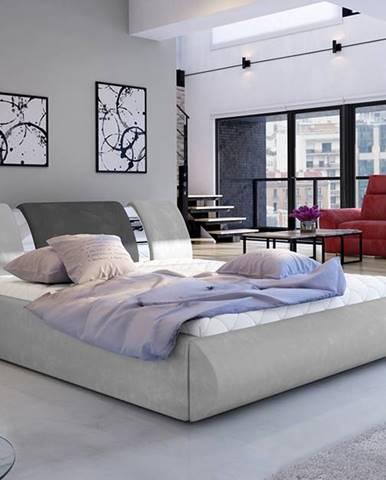 Folino 140 čalúnená manželská posteľ s roštom svetlosivá