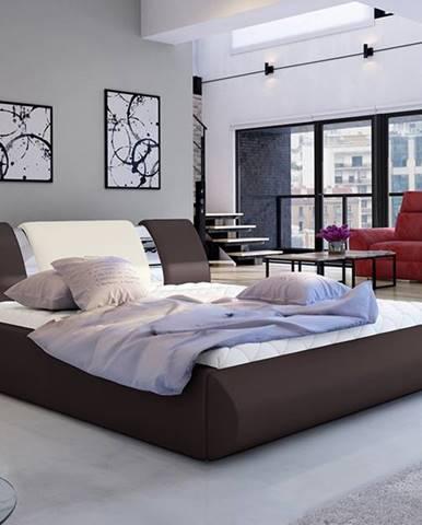 Folino 140 čalúnená manželská posteľ s roštom tmavohnedá