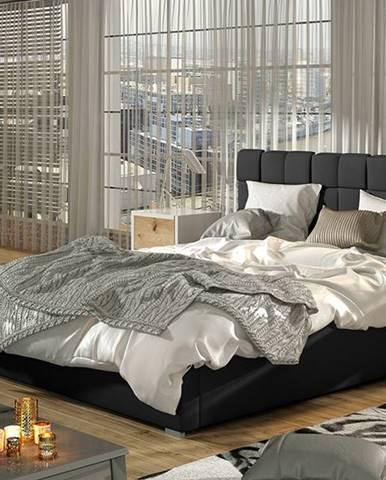 Galimo 140 čalúnená manželská posteľ s roštom čierna