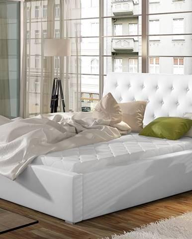 Monzo 180 čalúnená manželská posteľ s roštom biela