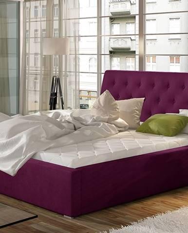 Monzo UP 140 čalúnená manželská posteľ s roštom vínová