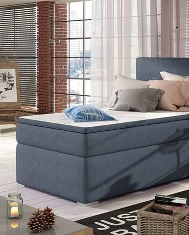 Rodrigo 90 P čalúnená jednolôžková posteľ s úložným priestorom modrá