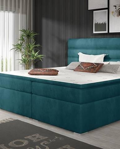 Spezia 140 čalúnená manželská posteľ s úložným priestorom tyrkysová