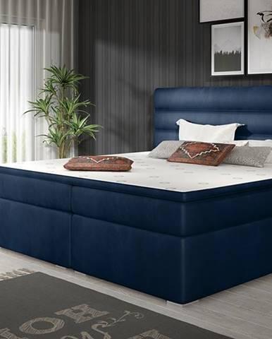 Spezia 180 čalúnená manželská posteľ s úložným priestorom tmavomodrá