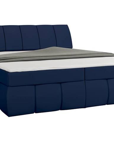 Vareso 140 čalúnená manželská posteľ s úložným priestorom modrá (Soft 09)