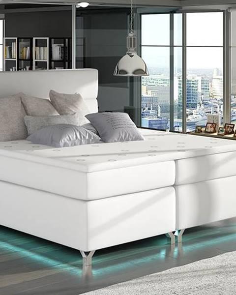 NABBI Avellino 180 čalúnená manželská posteľ s úložným priestorom biela