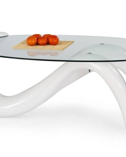 Halmar Cortina sklenený konferenčný stolík biely lesk