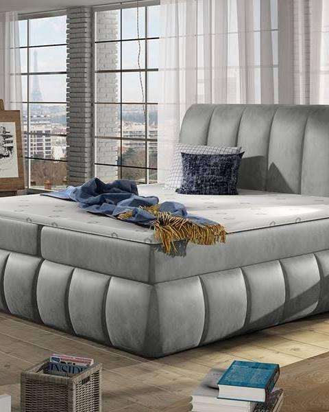 NABBI Vareso 160 čalúnená manželská posteľ s úložným priestorom svetlosivá (Monolith 84)