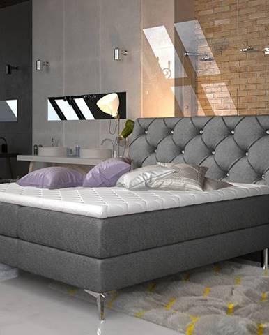 Amika 180 čalúnená manželská posteľ s úložným priestorom čierna (Dora 96)