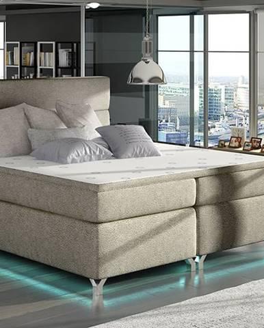 Avellino 140 čalúnená manželská posteľ s úložným priestorom svetlohnedá