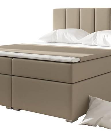 Barmo 160 čalúnená manželská posteľ s úložným priestorom béžová
