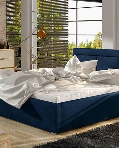 Branco UP 200 čalúnená manželská posteľ s roštom tmavomodrá