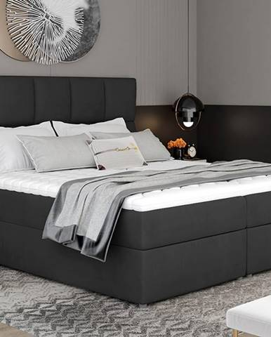 Grosio 165 čalúnená manželská posteľ s úložným priestorom čierna (Monolith 97)
