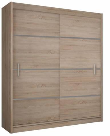 Merina 203 2D šatníková skriňa s posuvnými dverami dub sonoma