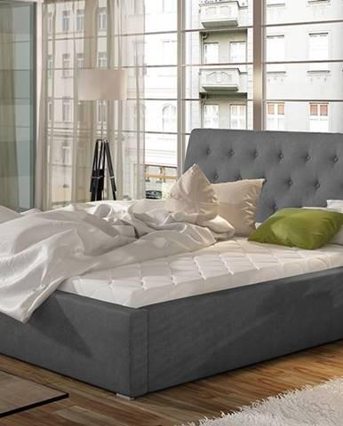 Monzo 160 čalúnená manželská posteľ s roštom tmavosivá