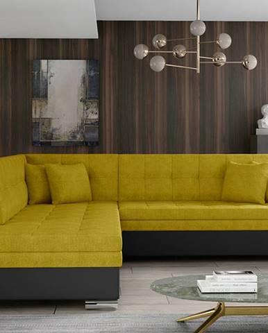 Pescara L rohová sedačka s rozkladom žltá