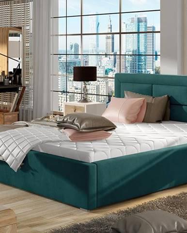 Rovigo UP 160 čalúnená manželská posteľ s roštom tyrkysová