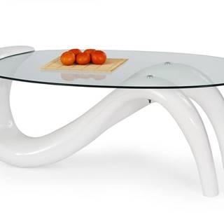 Cortina sklenený konferenčný stolík biely lesk