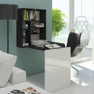 Hide rozkladací písací stolík s regálom čierna