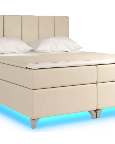 NABBI Barino 180 čalúnená manželská posteľ s úložným priestorom béžová (Soft 33)