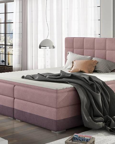 NABBI Dalino 140 čalúnená manželská posteľ s úložným priestorom ružová