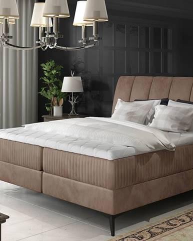 Altama 180 čalúnená manželská posteľ s úložným priestorom hnedá