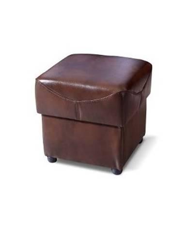 Oleska kožená taburetka tmavohnedá (Antyk S43)
