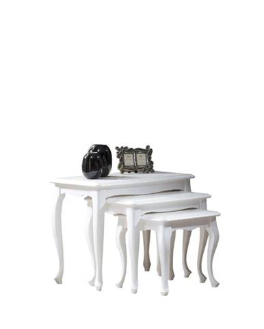 Wersal W-ABC rustikálny konferenčný stolík (3 ks) biela