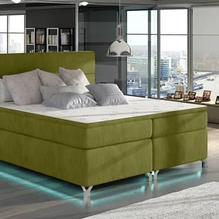Avellino 180 čalúnená manželská posteľ s úložným priestorom zelená
