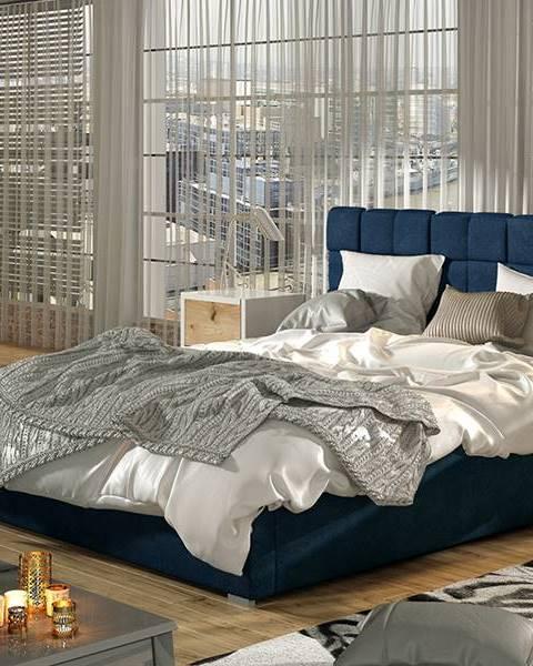 NABBI Galimo 180 čalúnená manželská posteľ s roštom tmavomodrá