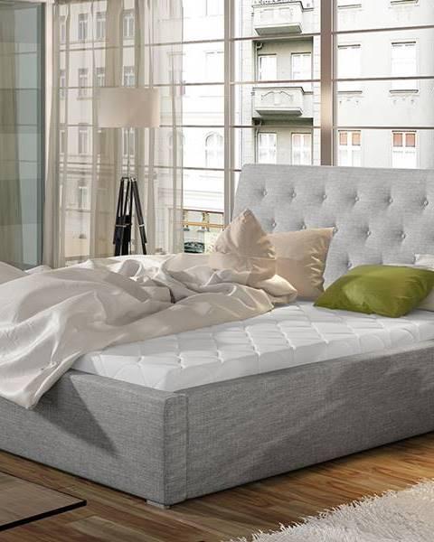 NABBI Monzo 160 čalúnená manželská posteľ s roštom svetlosivá (Sawana 21)