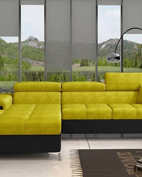 NABBI Rosino L rohová sedačka s rozkladom a úložným priestorom žltá