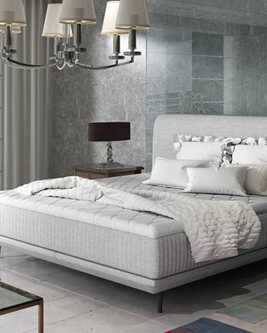 Ancona 180 čalúnená manželská posteľ svetlosivá (Sawana 21)