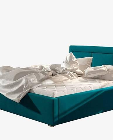Branco 200 čalúnená manželská posteľ s roštom tyrkysová
