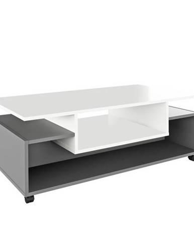 Dalen konferenčný stolík na kolieskach biela