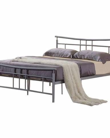 Dorado 180 kovová manželská posteľ s roštom matná strieborná
