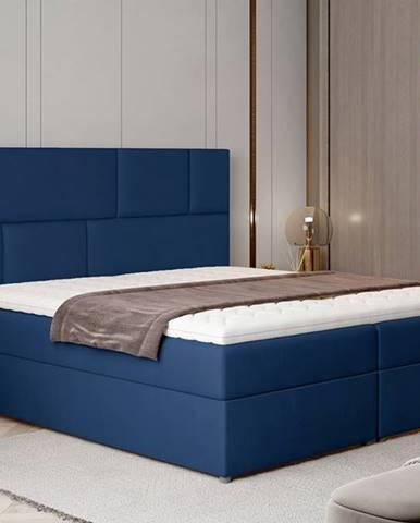 Ferine 185 čalúnená manželská posteľ s úložným priestorom tmavomodrá