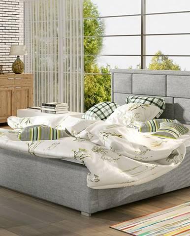 Liza 200 čalúnená manželská posteľ s roštom svetlosivá (Sawana 21)
