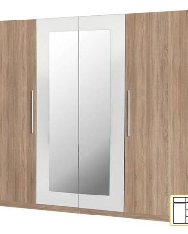 Martina 4D šatníková skriňa so zrkadlom dub sonoma