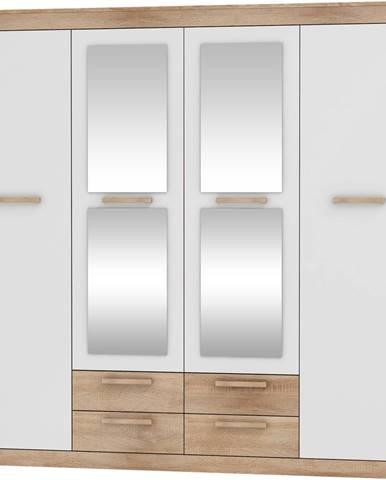 Maximus MXS-06 4D šatníková skriňa so zrkadlom sonoma svetlá