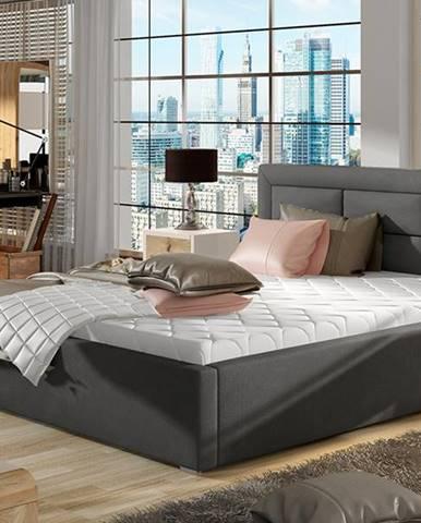 Rovigo 160 čalúnená manželská posteľ s roštom tmavosivá