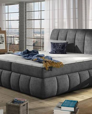Vareso 160 čalúnená manželská posteľ s úložným priestorom tmavosivá (Omega 13)