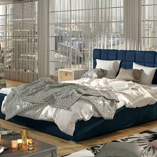 Galimo 180 čalúnená manželská posteľ s roštom tmavomodrá